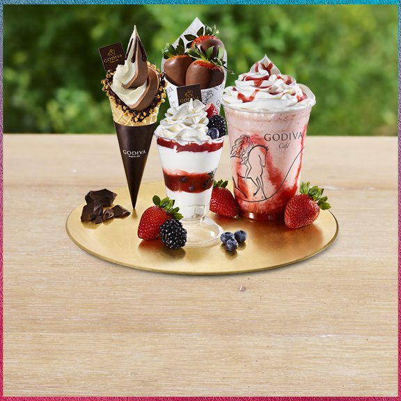 Soft serve cone, parfait, chocolixir, and chocolate covered strawberries