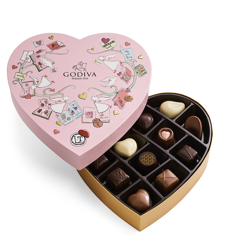 Godiva Valentine's Day Heart Chocolate Gift Box and Ballotin, 14 pc Dark, White, Milk Chocolate