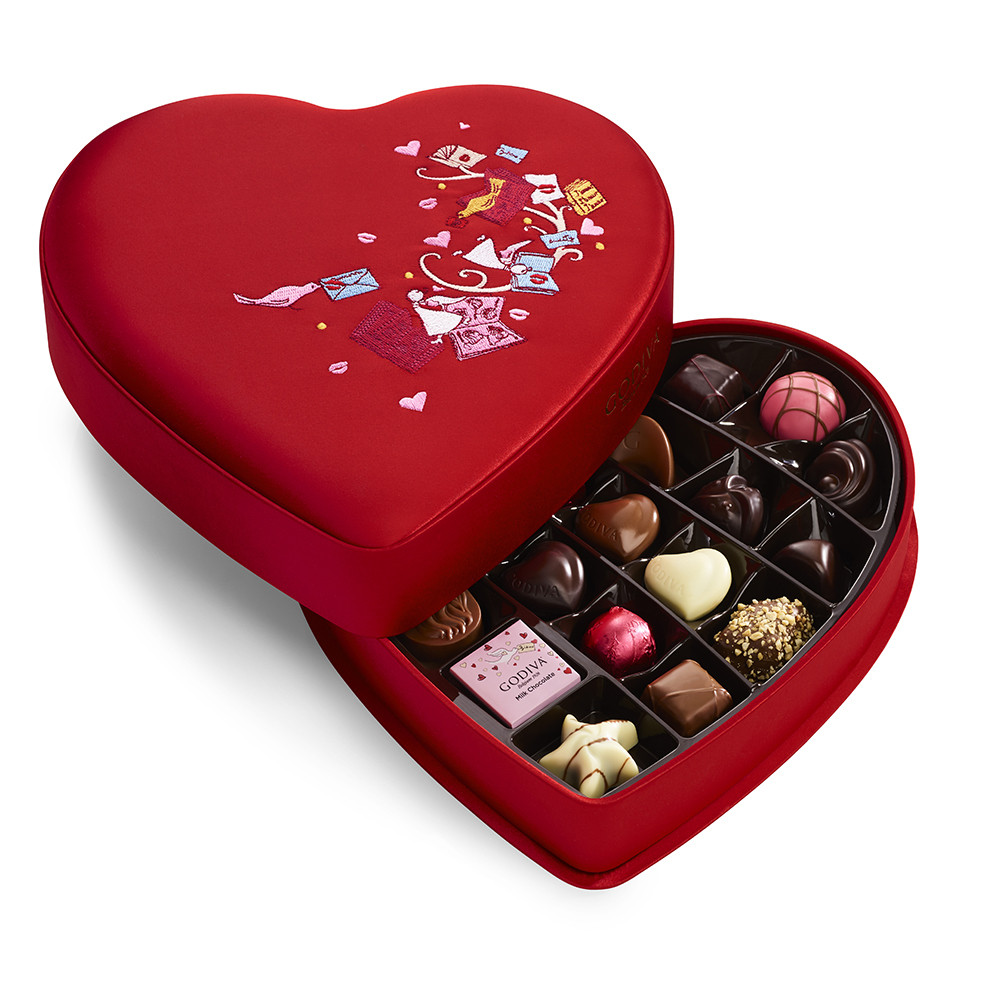 Godiva Valentine's Day Fabric Heart Chocolate Gift Box and Ballotin, 25 pc Dark, White, Milk Chocolate
