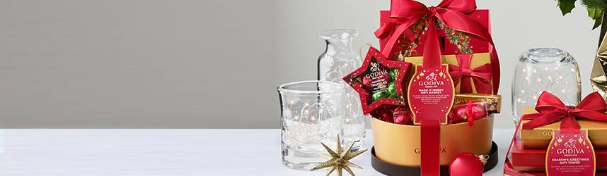 Make it merry Gift Basket and season's greetings gift tower