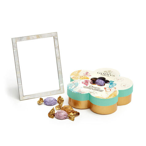 Mother of Pearl Shell Picture Frame, 5x7with Assorted Chocolate Flower Gift Box, 32 pc.