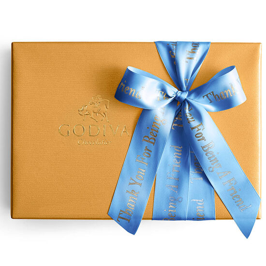 Assorted Gold Gift Box, Personalized Royal Blue Ribbon, 70 pc. image number null