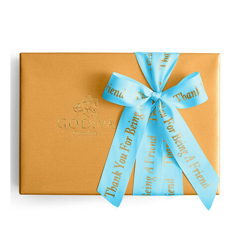 Assorted Chocolate Gold Gift Box, Personalized Sea Blue Ribbon, 70 pc.