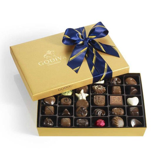 Assorted Chocolate Gold Gift Box, Striped Tie, 36 pc. image number null