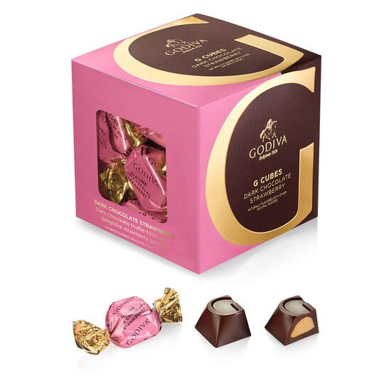 Dark Chocolate Strawberry G Cube Box, 22 pcs. image number null