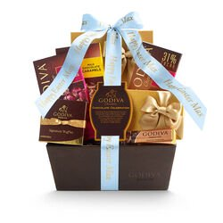 Chocolate Celebration Gift Basket, Personalized Light Blue Ribbon