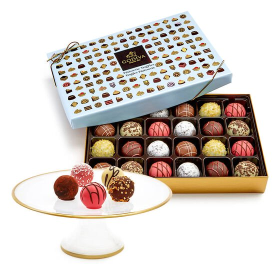 Dessert Pedestal with Chocolate Patisserie Dessert Truffles, 24 pc. image number null