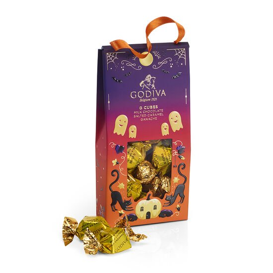 Halloween G Cube Chocolate Truffles Pouch and Mini Milk Pretzels image number null