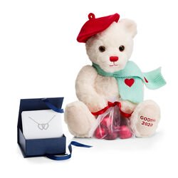 Limited Edition Valentine's Day Teddy Bear with Double Heart Necklace