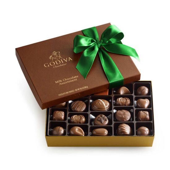 Assorted Milk Chocolate Gift Box, Green Ribbon, 22 pc. image number null