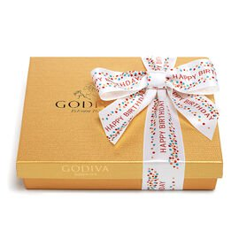 Assorted Chocolate Gold Gift Box, Happy Birthday Ribbon, 19 pc.