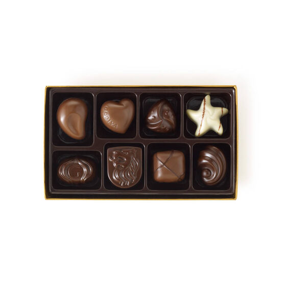 Assorted Chocolate Gold Gift Box, Royal Blue Ribbon, 8 pc. image number null