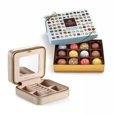 Leather Travel Jewelry Case with Patisserie Chocolate Truffles, 12 pc.