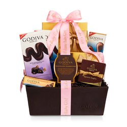 Chocolate Celebration Gift Basket, Welcome Baby Girl Ribbon