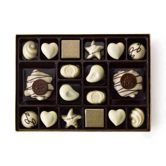 White Chocolate Gift Box, Wine Ribbon, 24 pc. image number null