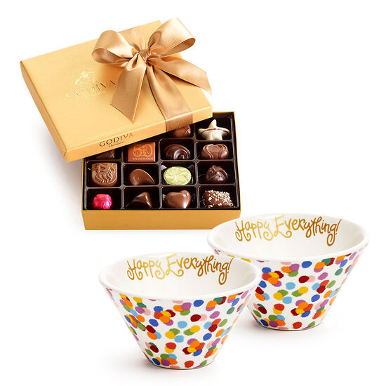 Happy Everything Bowls, Set of 2, with Assorted Chocolate Gold Gift Box, Gold Ribbon, 19 pc image number null