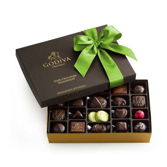 Dark Chocolate Gift Box, Kiwi Ribbon, 27 pc. image number null