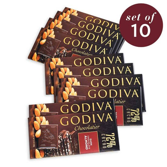 Large 72% Dark Chocolate with Almond Bar, Set of 10 image number null