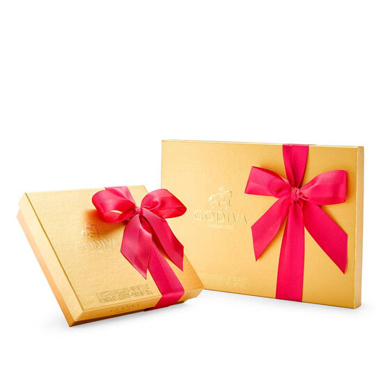 Assorted Chocolate Gold Gift Box Set, Spring Ribbon, 19 & 36 pc. image number null