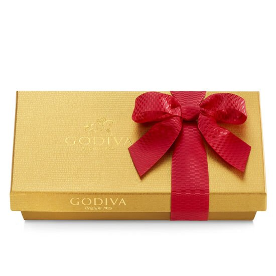 Valentine's Day Assorted Chocolate Gold Gift Box, Red Ribbon, 8 pc. image number null