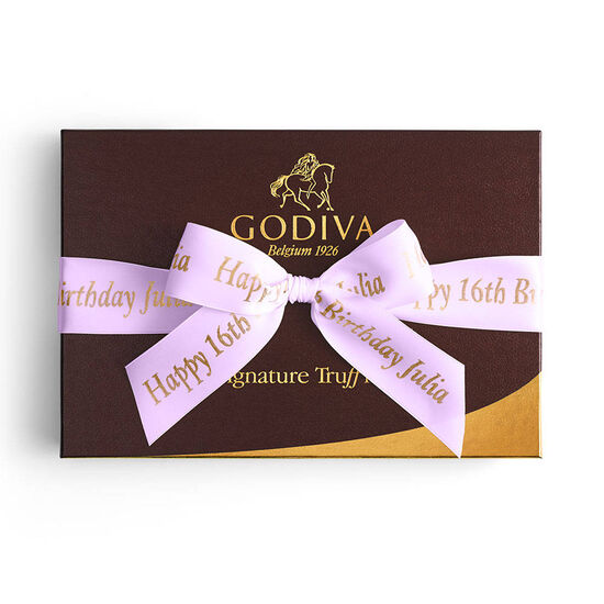 Signature Truffles Gift Box, Personalized Light Orchid Ribbon, 12 pc. image number null