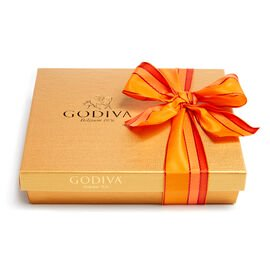 Assorted Chocolate Gold Gift Box, Orange Stripe Ribbon, 19 pc.
