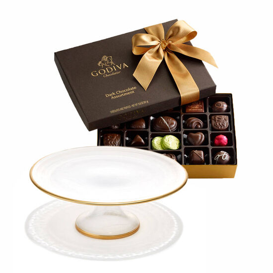 Dessert Pedestal with Dark Chocolate Assortment Gift Box, 27 pc. image number null