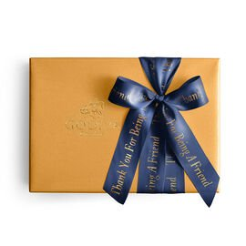 Assorted Chocolate Gold Gift Box, Personalized Navy Ribbon, 70 pc.