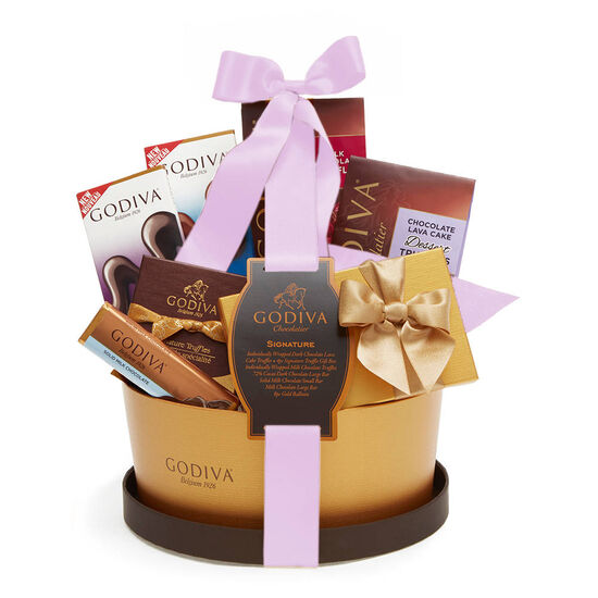 Signature Gift Basket with Light Orchid Ribbon image number null