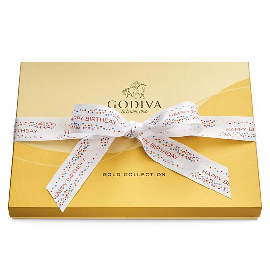 Assorted Chocolate Gold Gift Box, Happy Birthday Ribbon, 36 pc. image number null