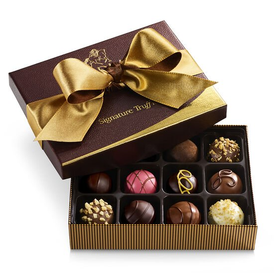 Signature Chocolate Truffles Gift Box, Gold and Brown Ribbon, 12 pc. image number null