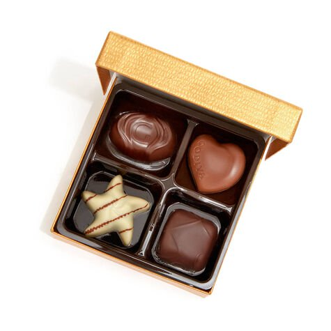 Assorted Chocolate Gold Favor, Personalized Royal Blue Ribbon, 4 pc.