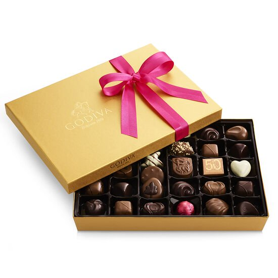 Assorted Chocolate Gold Gift Box, Spring Ribbon, 36 pc. image number null