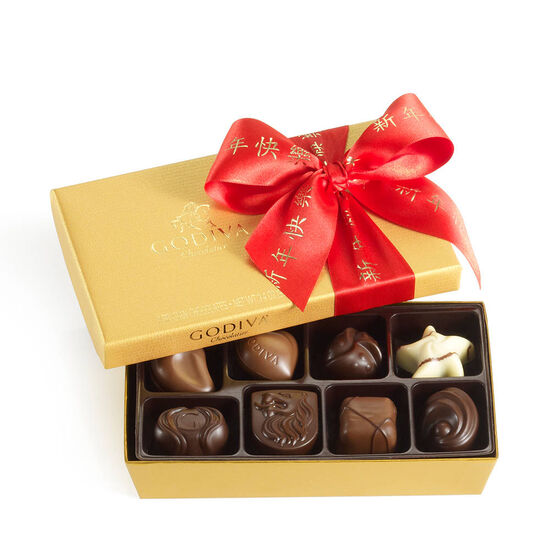 Assorted Chocolate Gold Gift Box, Lunar New Year Ribbon, 8 pc. image number null