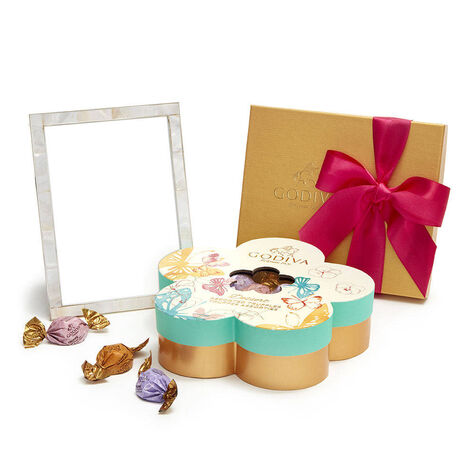 White & Gold Enamel Picture Frame, 5x7 with Assorted Chocolate Flower Gift Box, 16 pc. & Assorted Chocolate Gift Box, Spring Ribbon, 19 pc.