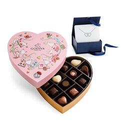 Double Heart Necklace with Valentine's Day Heart Chocolate Gift Box, 14 pc.