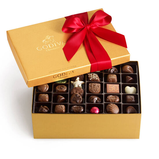 Assorted Chocolate Gold Gift Box, Red Ribbon, 105 pc. image number null
