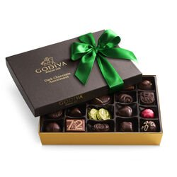 Dark Chocolate Assortment Gift Box, Green Ribbon, 27 pc.