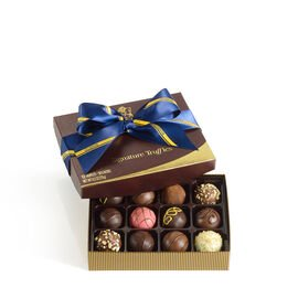 Signature Chocolate Truffles Gift Box, Striped Tie Ribbon, 12 pc.