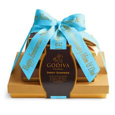 Sweet Surprise Gift Tower, Personalized Sea Blue Ribbon