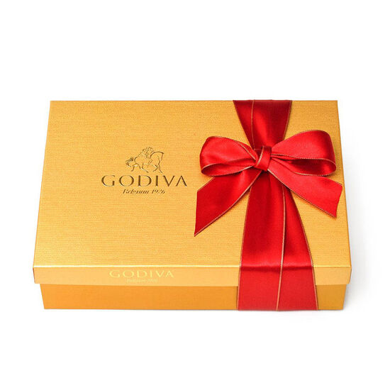 $100 Holiday Gift Card & Assorted Chocolate Gold Gift Box, Red Ribbon, 70 pc. image number null