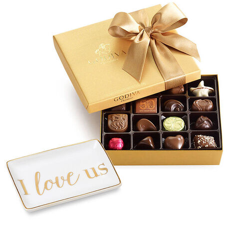 I Love Us Tray with Assorted Chocolate Gold Gift Box, Classic Ribbon, 19 pcs.