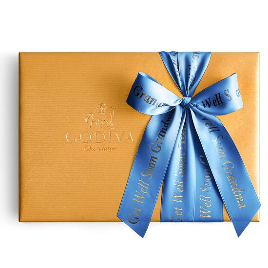 Assorted Chocolate Gold Gift Box, Personalized Royal Blue Ribbon, 36 pc. image number null