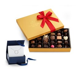 Circle of Life Necklace with Assorted Chocolate Gold Gift Box, 36 pcs.