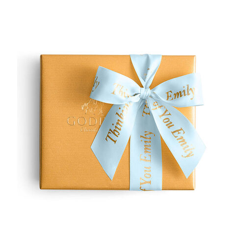 Assorted Chocolate Gold Gift Box, Personalized Light Blue Ribbon, 19 pc.