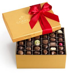 Assorted Chocolate Gold Gift Box, Red Ribbon, 140 pc.