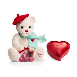 Valentine's Day Chocolate Heart Tin & Plush Bear