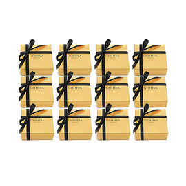 Assorted Chocolate Gold Favor, Black Ribbon, Set of 12, 4 pc. each
