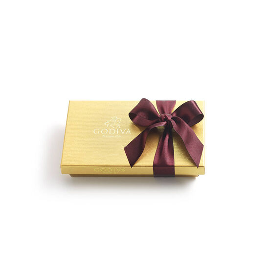 Assorted Chocolate Gold Gift Box, Wine Ribbon, 8 pc. image number null