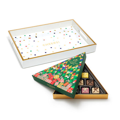 Cheers Tray with Limited Edition Petit Four Gift Box, 10 pc.